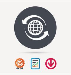 Globe icon world or internet sign vector