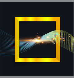 abstract wave in square with shine sparkles vector image