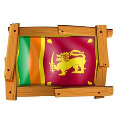 sri lanka flag in wooden frame vector image