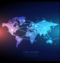 Digital world map linked by lines connections vector