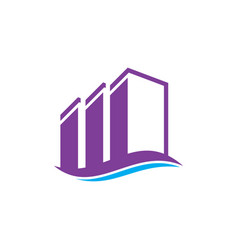 Wave buildings real estate logo image vector