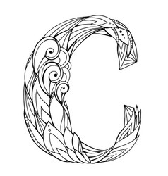 Black and white freehand drawing capital letter c vector