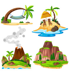 Four scenes of island and beach vector