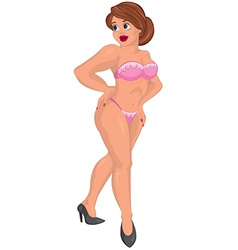 Cartoon young sexy woman in pink underwear vector