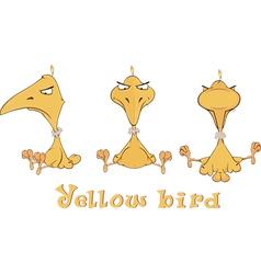 A set of yellow birdies cartoon vector image