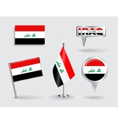 Set of iraqi pin icon and map pointer flags vector