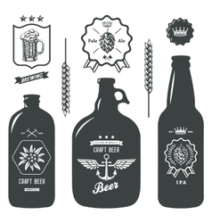 Vintage craft beer bottles brewery label sign set vector