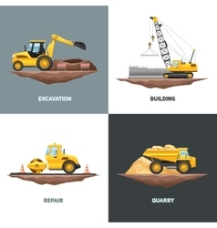 Construction machinery 4 flat icons square vector