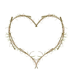 Dry brown twigs in a heart shape vector