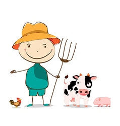 Funny farmer and cow pig cock isolated vector