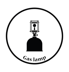 Camping gas burner lamp icon vector