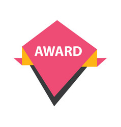 Award label design pink yellow black vector