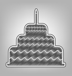Cake with candle sign pencil sketch vector