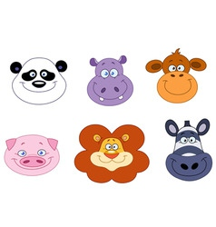 cartoon animal heads vector image