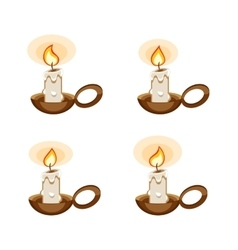 Cartoon candle in a holder with burning animation vector image