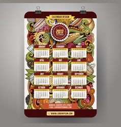 Cartoon doodles russian food 2017 year calendar vector