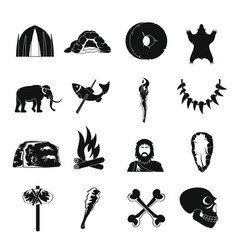 Caveman icons set simple style vector