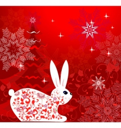 Christmas rabbit design vector image vector image