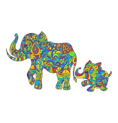Colorful hand drawn zentagle of an elephant and vector