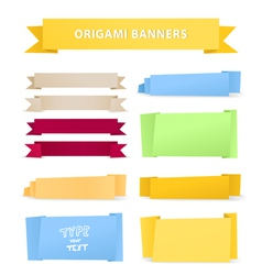 Colorful polygonal origami ribbons vector image