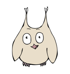cute funny surprised amused puzzled owl bird vector image vector image