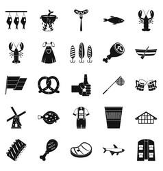 Evening with wine icons set simple style vector