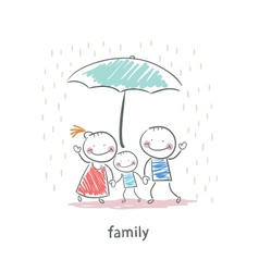 Family under umbrella vector