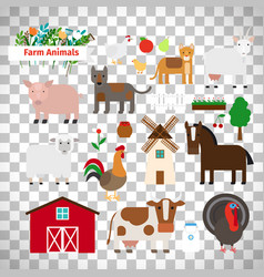 Farm animals on transparent background vector