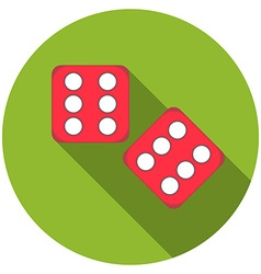 Flat design dice icon with long shadow isolated vector