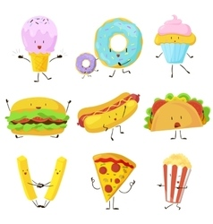 Funny fast food icons set vector image