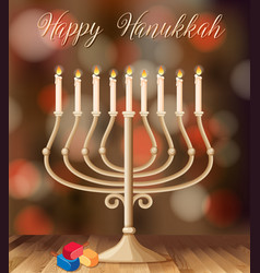 happy hanukkah card template with candleholder vector image vector image