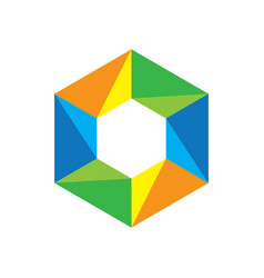 Hexagon colored business logo image vector