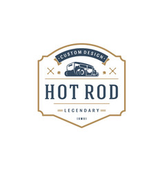 hot rod car logo template design element vector image vector image