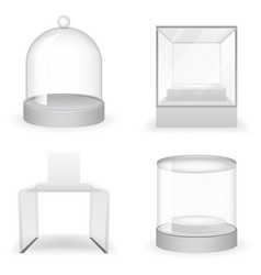 isolated glass box 3d realistic shop icons set vector image vector image