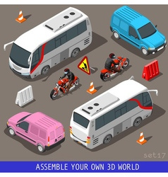 Isometric Flat 3d Vehicle Tourism Set vector image