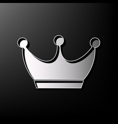 King crown sign gray 3d printed icon on vector