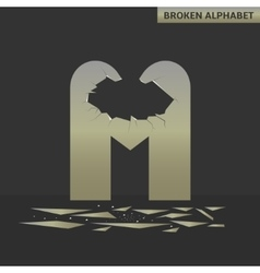 Letter m broken mirror vector