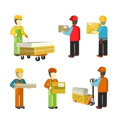 Peope workers in warehouse interior isoated vector