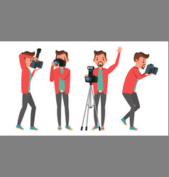 photographer modern camera posing full vector image