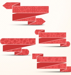 Pink ribbons with different textures vector image