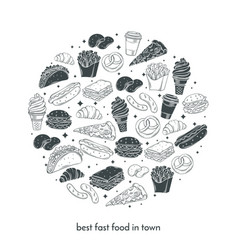 Poster with hand drawn fast food vector