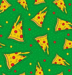 Retro hand drawn stitch patch pizza background vector