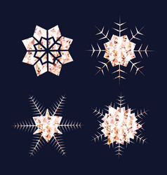 rose gold snowflakes golden glitter or foil snow vector image vector image