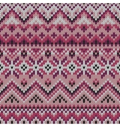 seamless lilac ornament on knitted texture vector image vector image