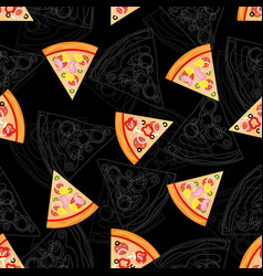 seamless texture color pattern with pizza vector image