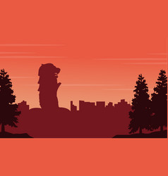 silhouette of singapore city scenery vector image