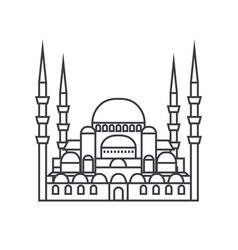 turkish mosque line icon sig vector image