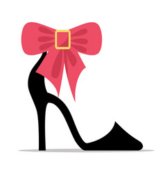 Womens shoe with high stiletto heel and bow vector