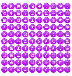 100 beauty salon icons set purple vector image vector image