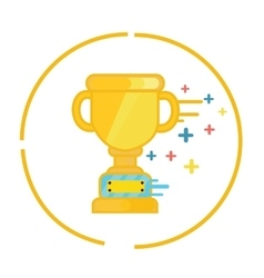 Trophy gold cup winner symbol icon champion flat vector
